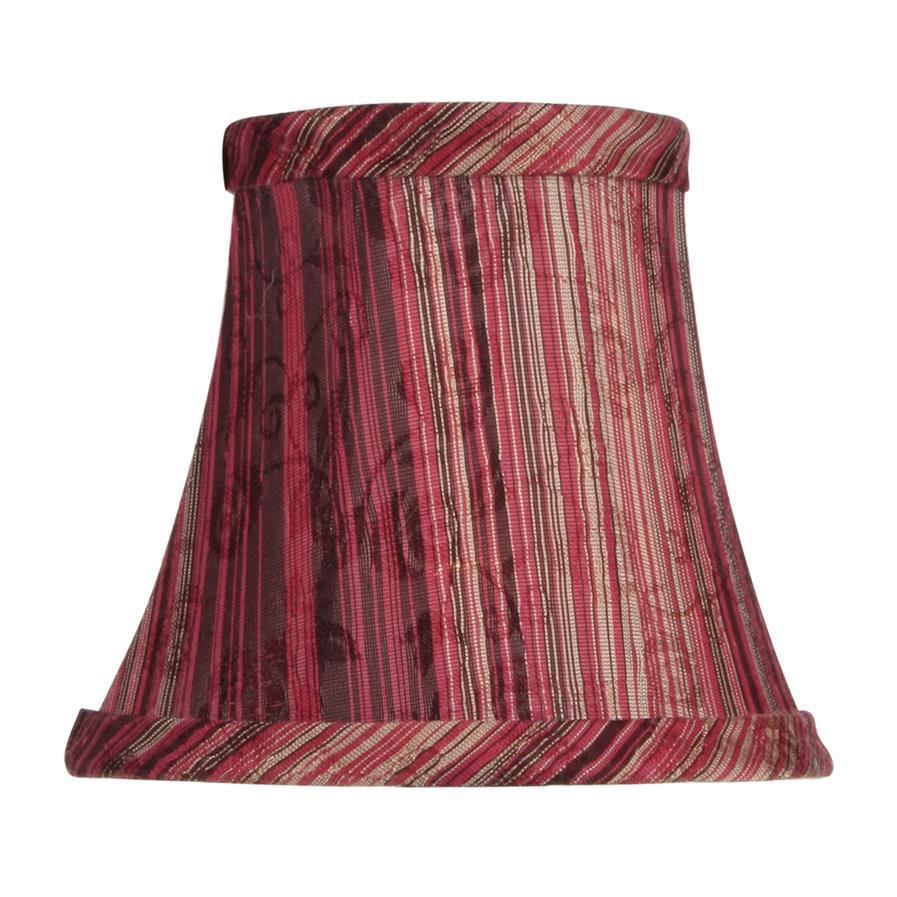 Livex Lighting S312 Chandelier Shade Burgundy Striped Silk Bell Clip Shade