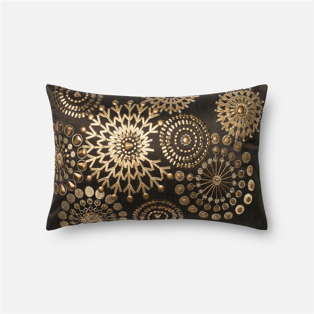 Loloi Rugs P0441 POLY SET Pillow in Brown / Gold