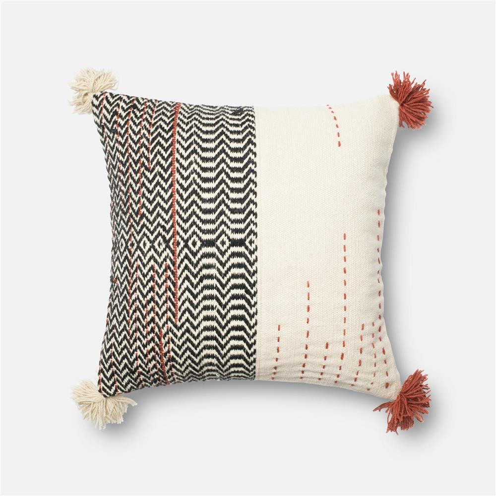 Loloi Rugs P0227 POLY SET Pillow in Black / Ivory