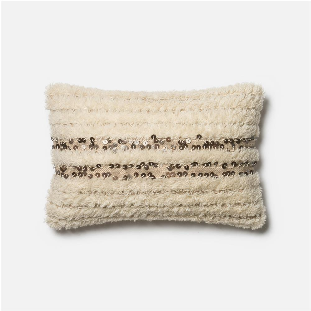 Loloi Rugs P0423 POLY SET Pillow in Ivory