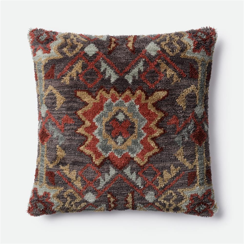 loloi rugs p0464 poly set pillow in brown red