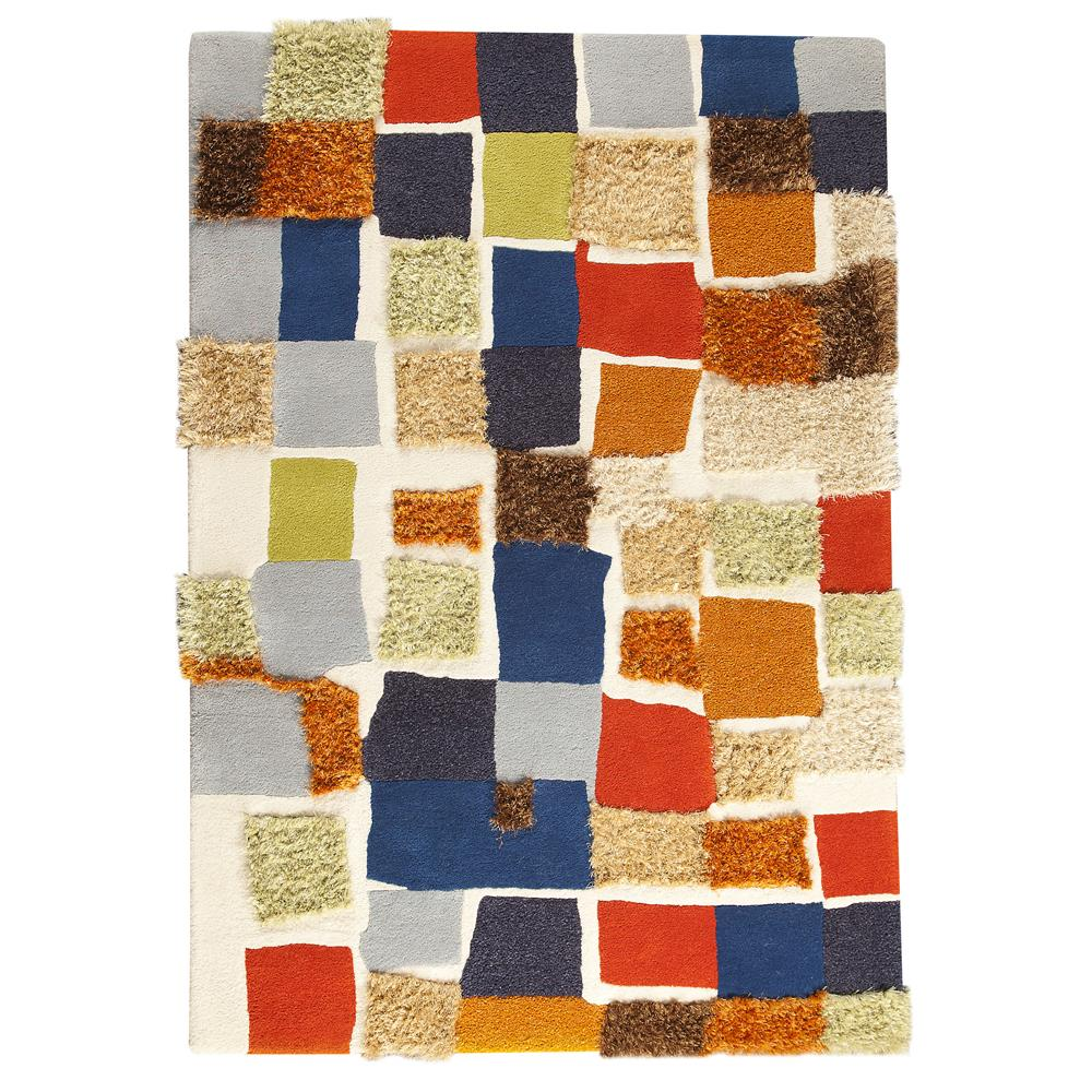 MAT Orange VIVPATMUL052076 Hand Tufted with 60% Wool, 40% Polyester Rug in Multi