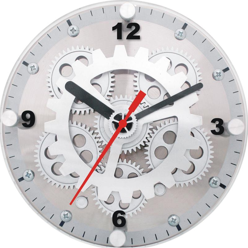 """Maples CLY-23 Dual Purpose 6"""" Table/Wall Moving Gear Clock - Glass Lens"""