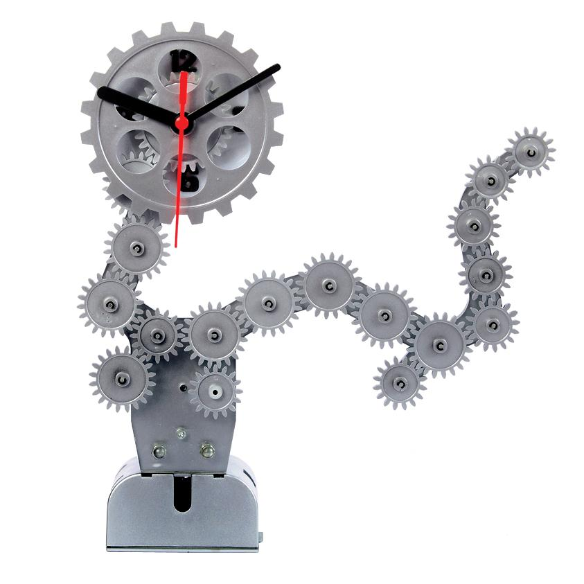 Maples DCL128 Moving Gear Table Clock in Silver
