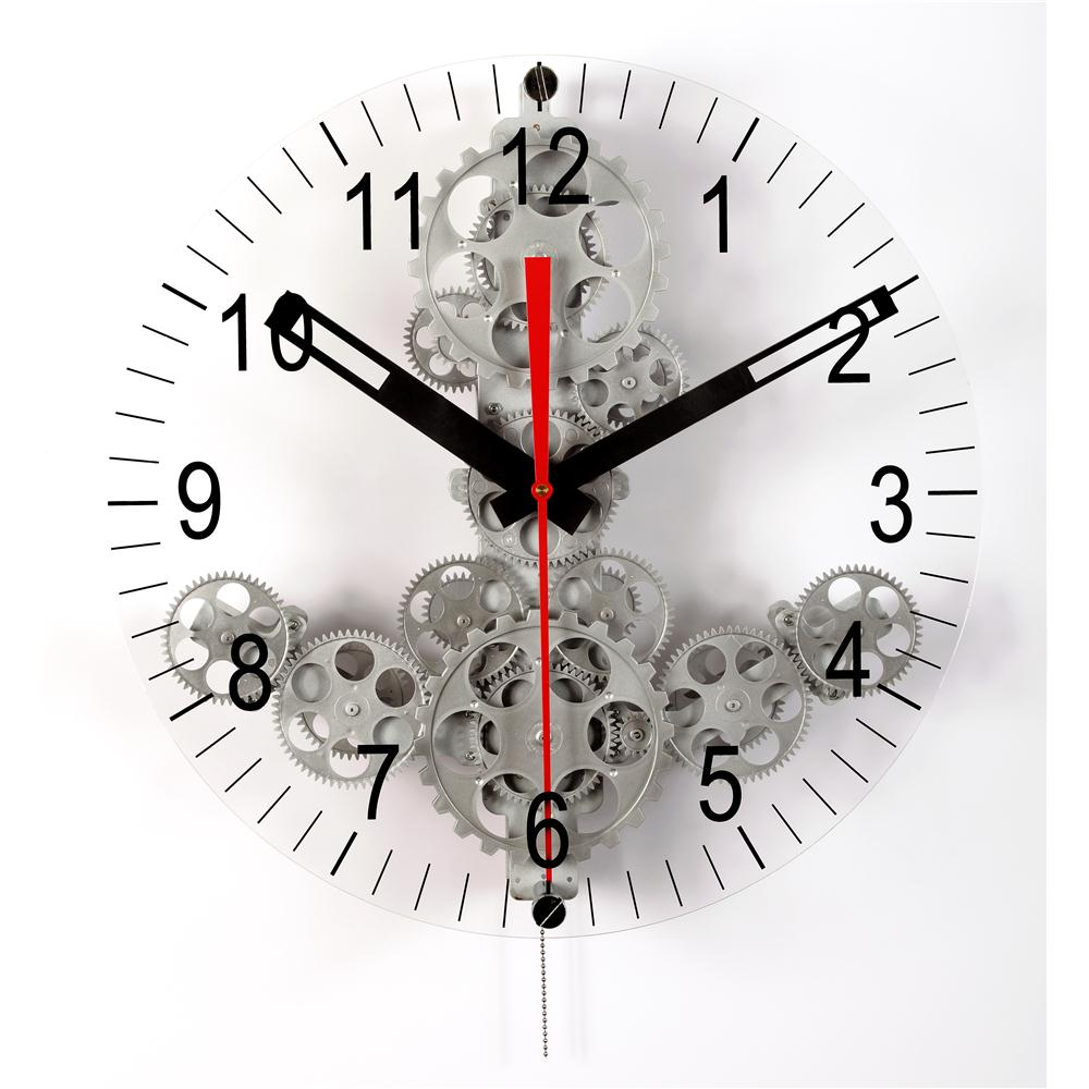 Maples GCL05-88G Large Moving Gear Wall Clock with front glass dial in Silver