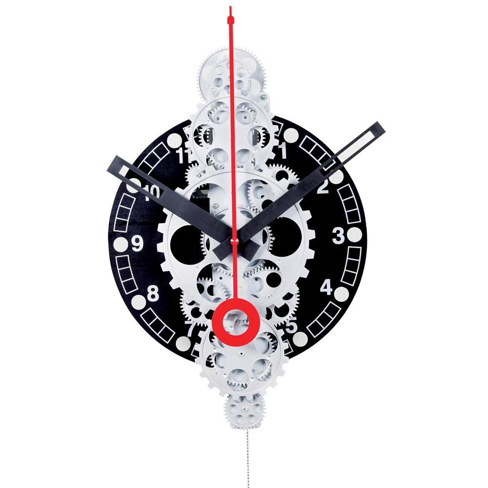 Maples GCL06-378 Large Moving Gear Wall Clock - Black Plexi Dial