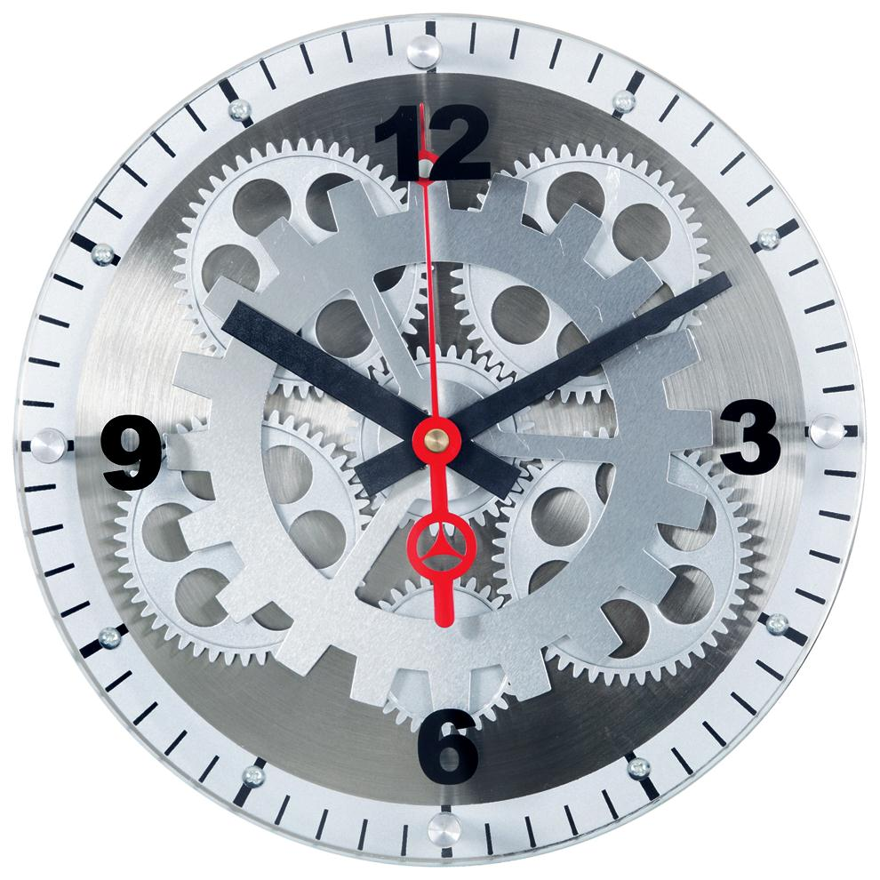 """Maples GCLY-11 10"""" Moving Gear Wall Clock - Glass Cover"""