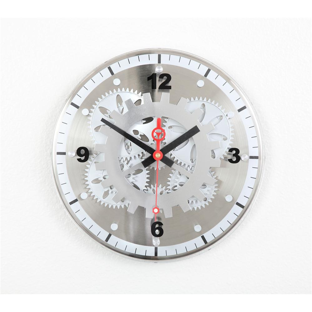 "Maples GCLY-22 12"" Moving Gear Wall Clock - Glass Cover"