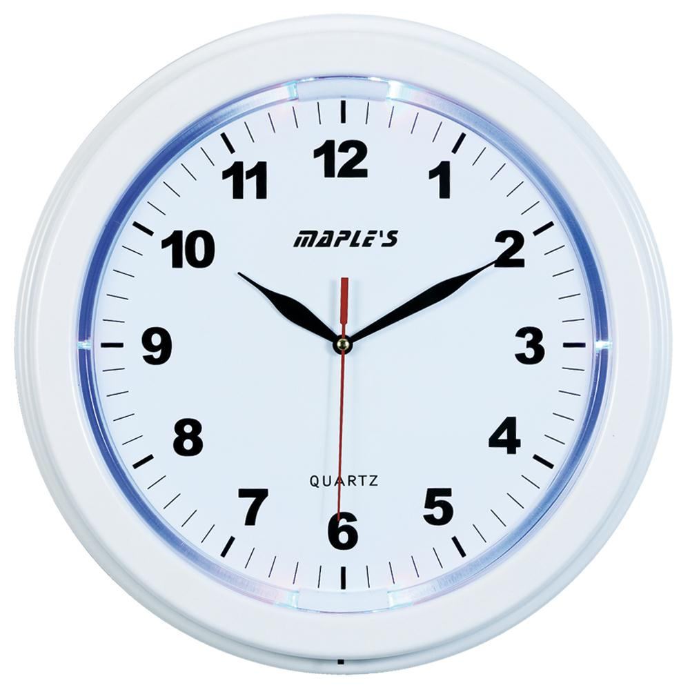 "Maples JS2328W 13"" LED Plastic Wall Clock in White"