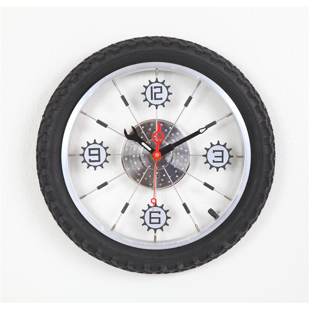Maples LZXC-16-BK Aluminum Bicycle Wheel with Rubber Tire Wall Clock - Black