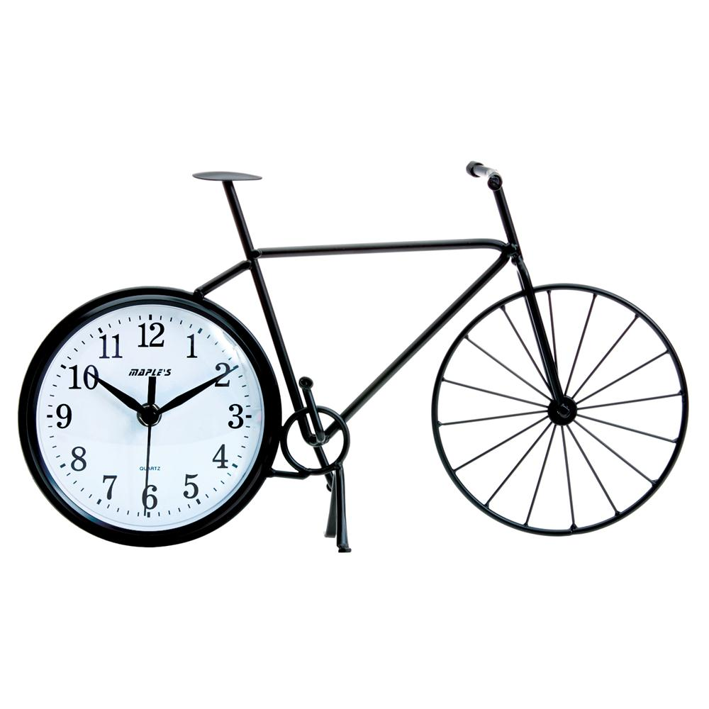 Maples MTC146 Bicycle Silhouette Table Clock in Black