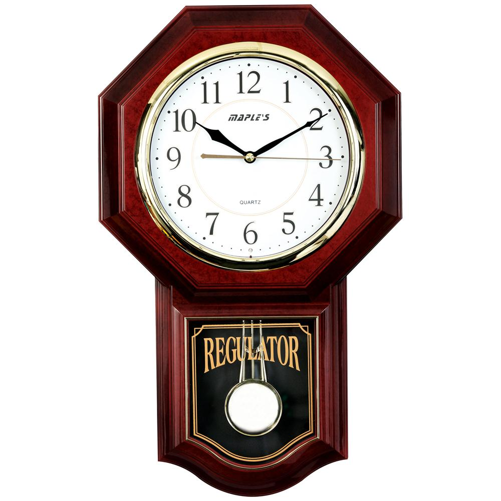 Maples PW6119 Pendulum Plastic Wall Clock in Brown