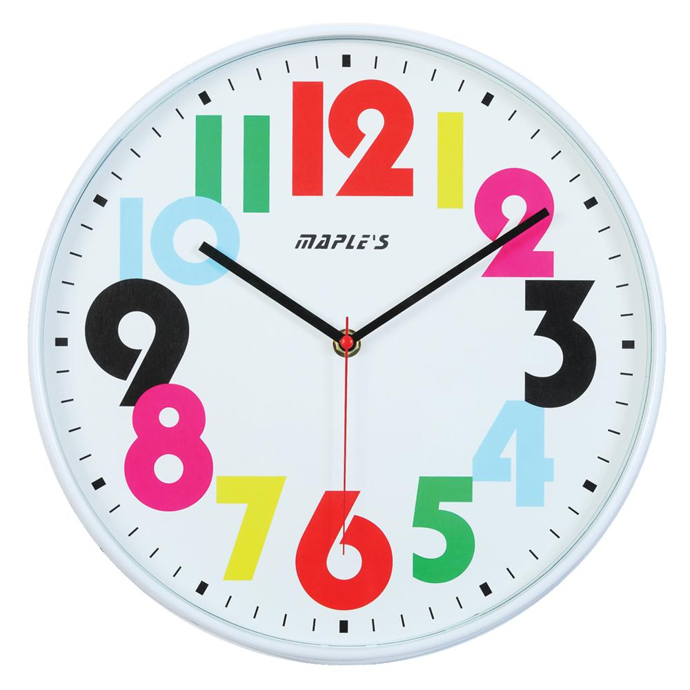"""Maples RS9649 12"""" Plastic Wall Clock in White"""