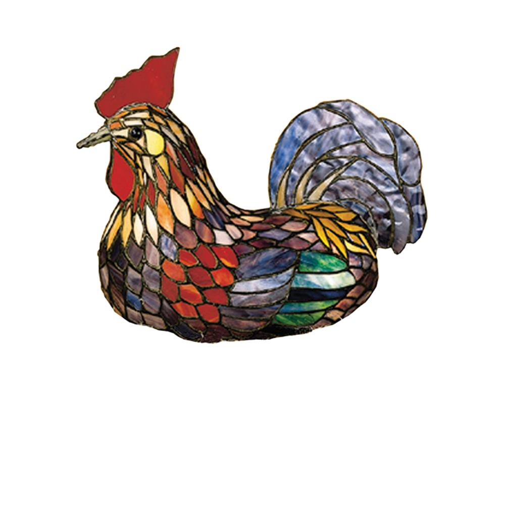 "Meyda Tiffany Lighting 10086 14""H Tiffany Rooster Accent Lamp"