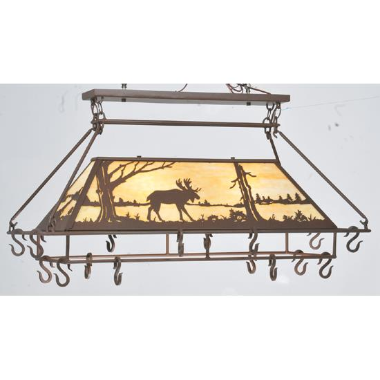 "Meyda Tiffany Lighting 109364 39""L Moose At Lake Pot Rack"