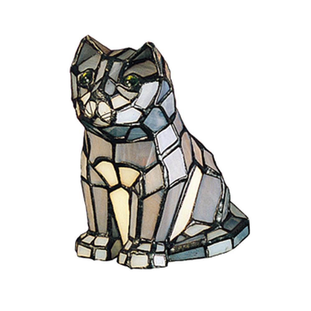 "Meyda Tiffany Lighting 11323 7""H Cat Tiffany Glass Accent Lamp"