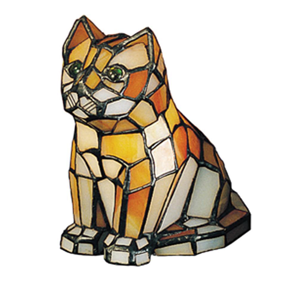 "Meyda Tiffany Lighting 11332 7""H Cat Tiffany Glass Accent Lamp"