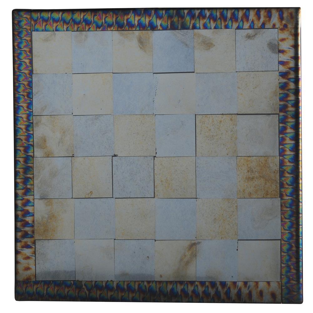 "Meyda Tiffany Lighting 114832 14""Sq Chess Fused Glass Table"