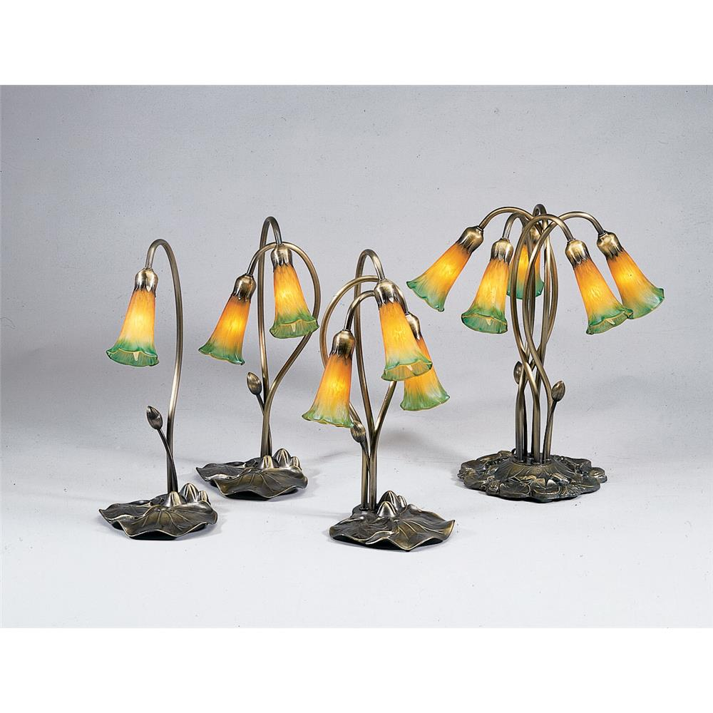 "Meyda Tiffany Lighting 12939 16""H Amber/Green Pond Lily 2 Lt Accent Lamp"