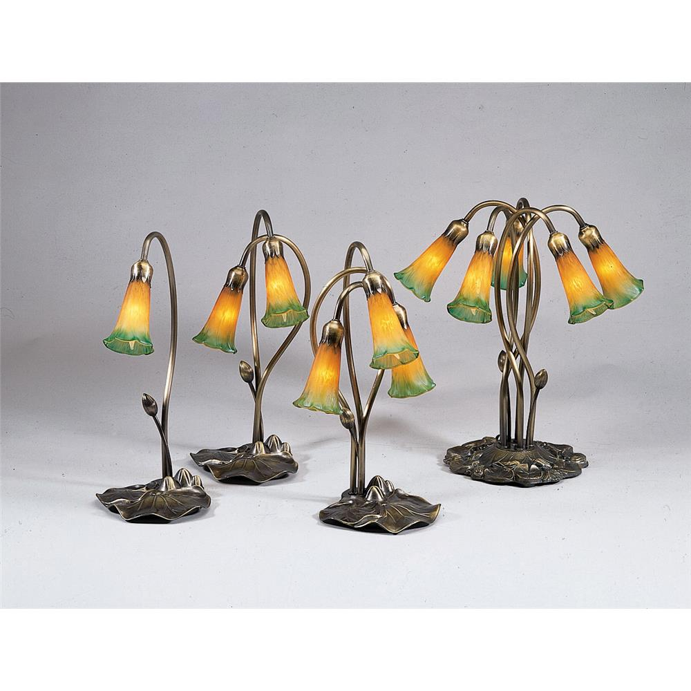 "Meyda Tiffany Lighting 13595 16""H Amber/Green Pond Lily 3 Lt Accent Lamp"
