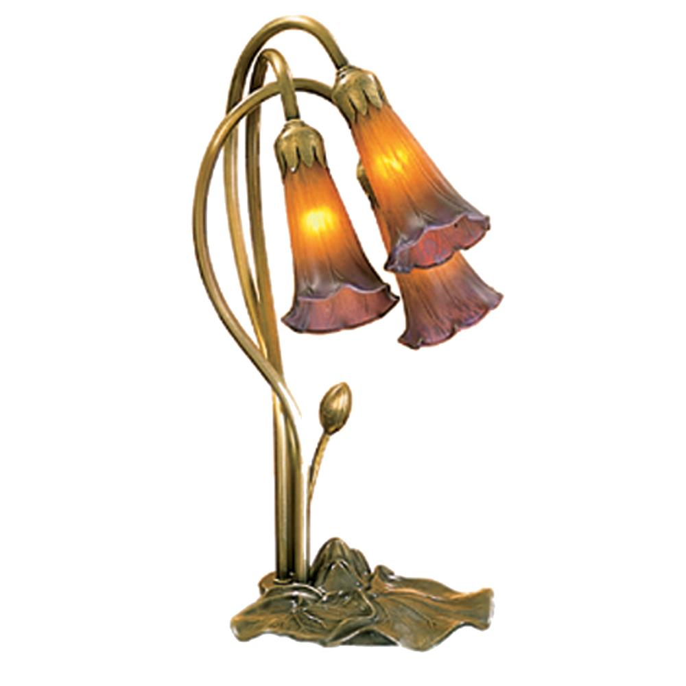 "Meyda Tiffany Lighting 13674 16""H Amber/Purple Pond Lily 3 Lt Accent Lamp"