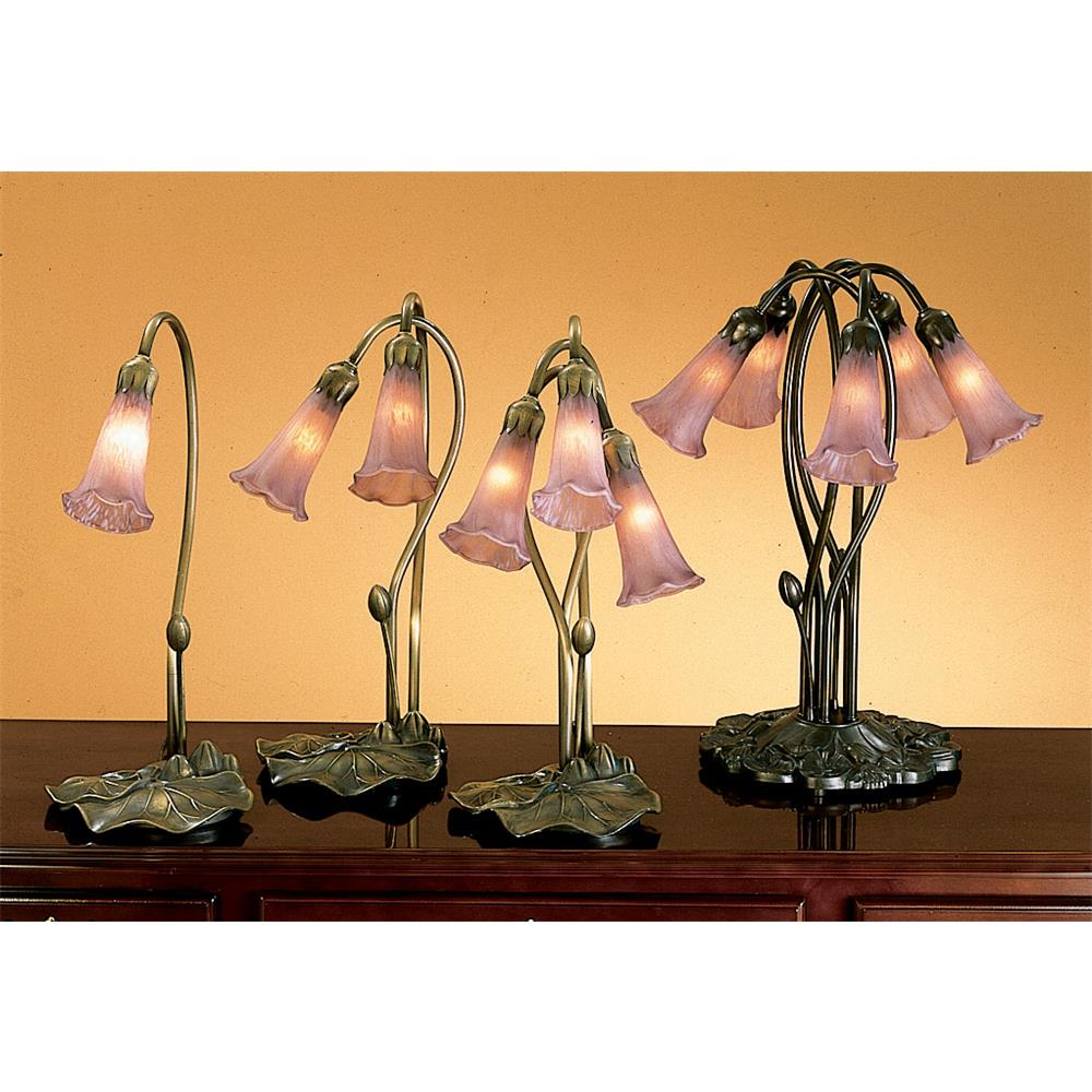"Meyda Tiffany Lighting 13863 16""H Lavender Pond Lily 3 Lt. Accent Lamp"