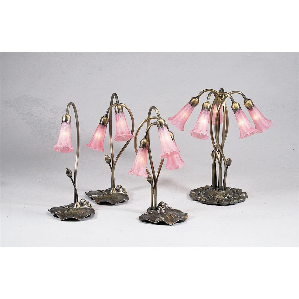 "Meyda Tiffany Lighting 14110 16""H Pink Pond Lily 2 Lt Accent Lamp"