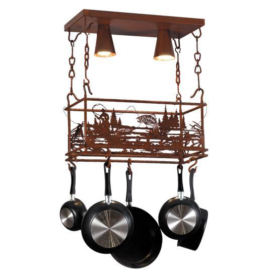 "Meyda Tiffany Lighting 143744 24""L Fisherman Pot Rack W/2 Downlights"