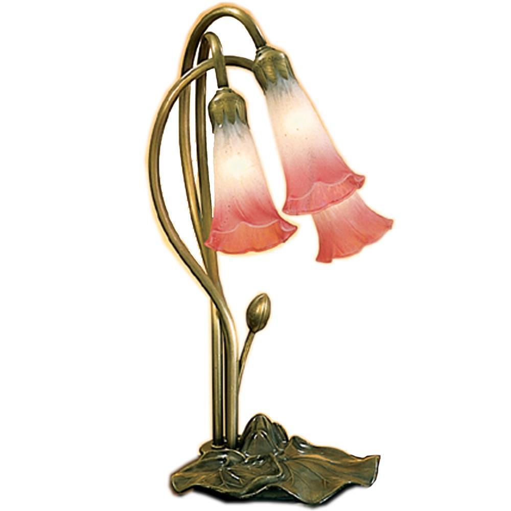 "Meyda Tiffany Lighting 14813 16""H Pink/White Pond Lily 3 Lt Accent Lamp"
