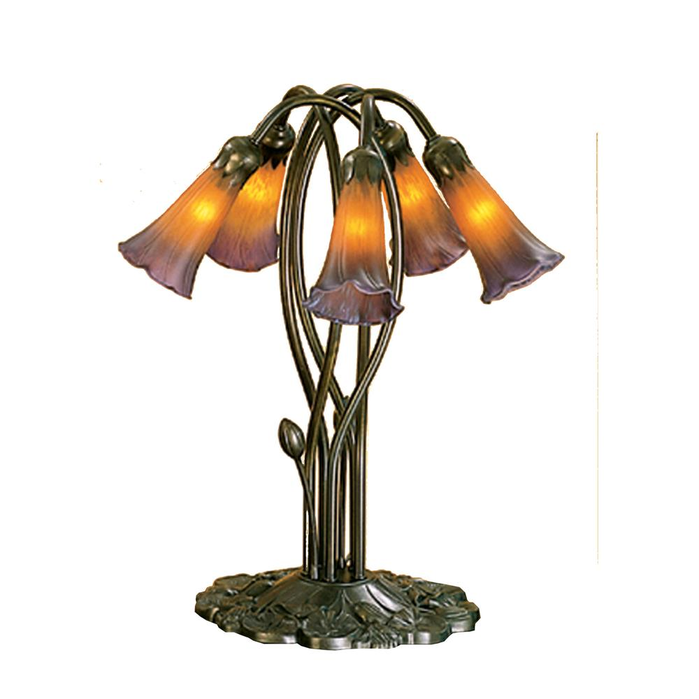 "Meyda Tiffany Lighting 14962 16.5""H Amber/Purple Pond Lily 5 Lt Accent Lamp"