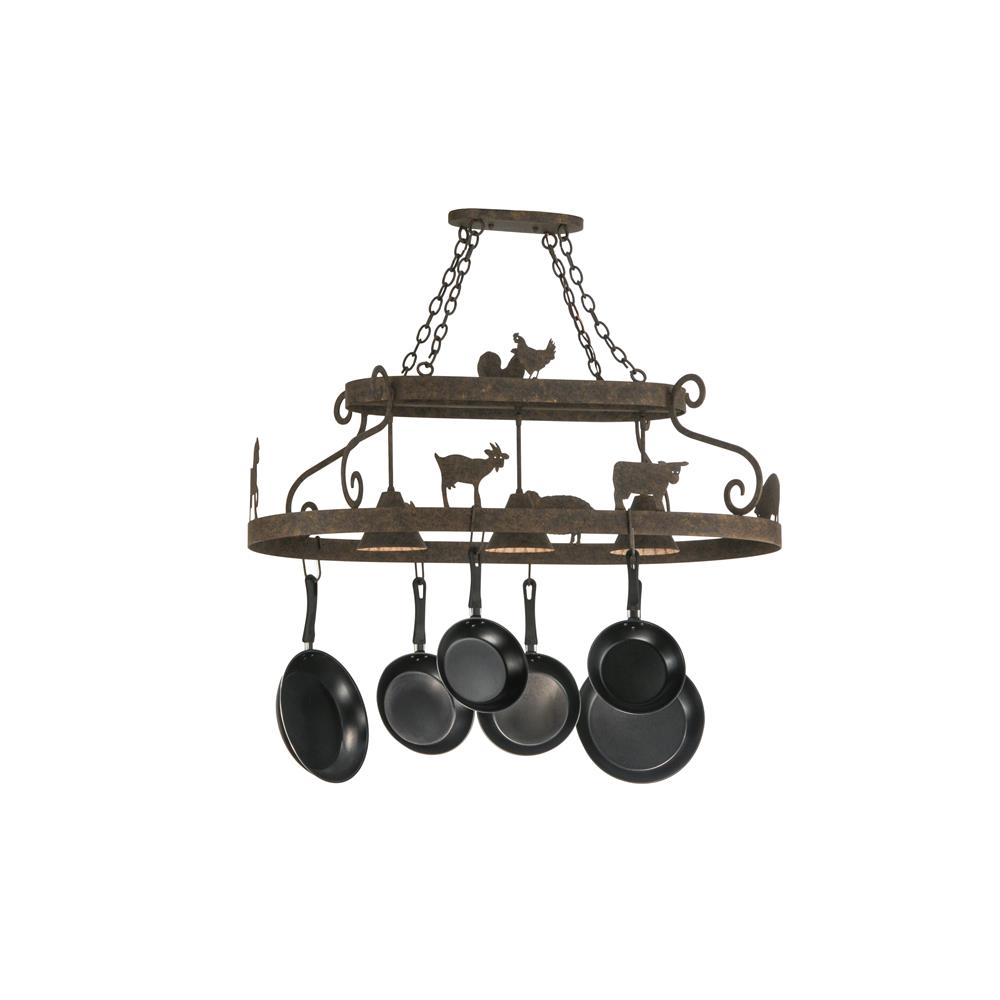 "Meyda Lighting 150295 46""L Barn Animals W/Downlights Pot Rack"