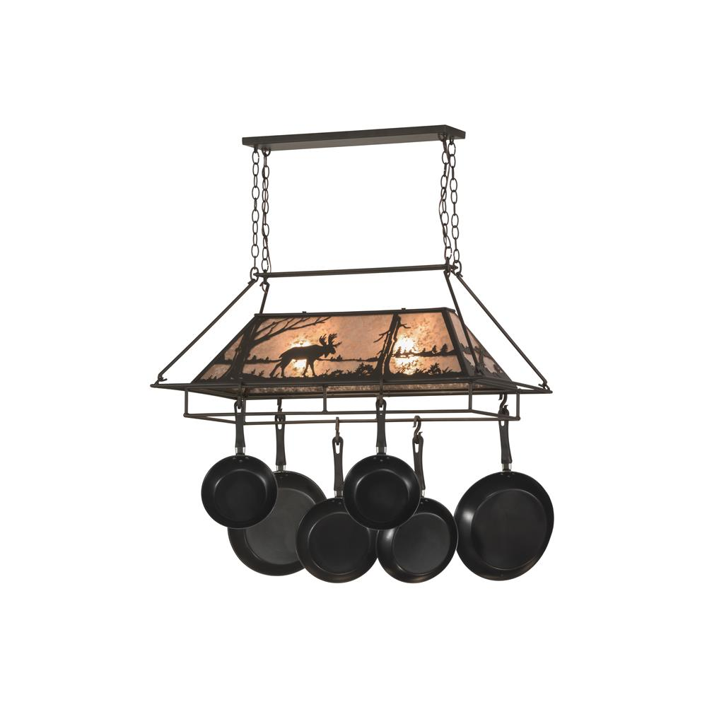 "Meyda Lighting 152951 39""L Moose at Lake Pot Rack"