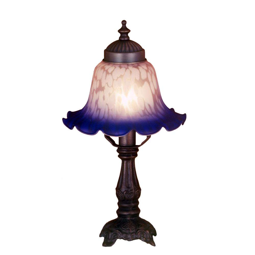 "Meyda Tiffany Lighting 17507 12.5""H Bell White & Blue Mini Lamp"