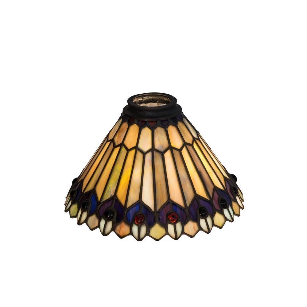 "Meyda Lighting 21624 8""w Tiffany Jeweled Peacock Shade"