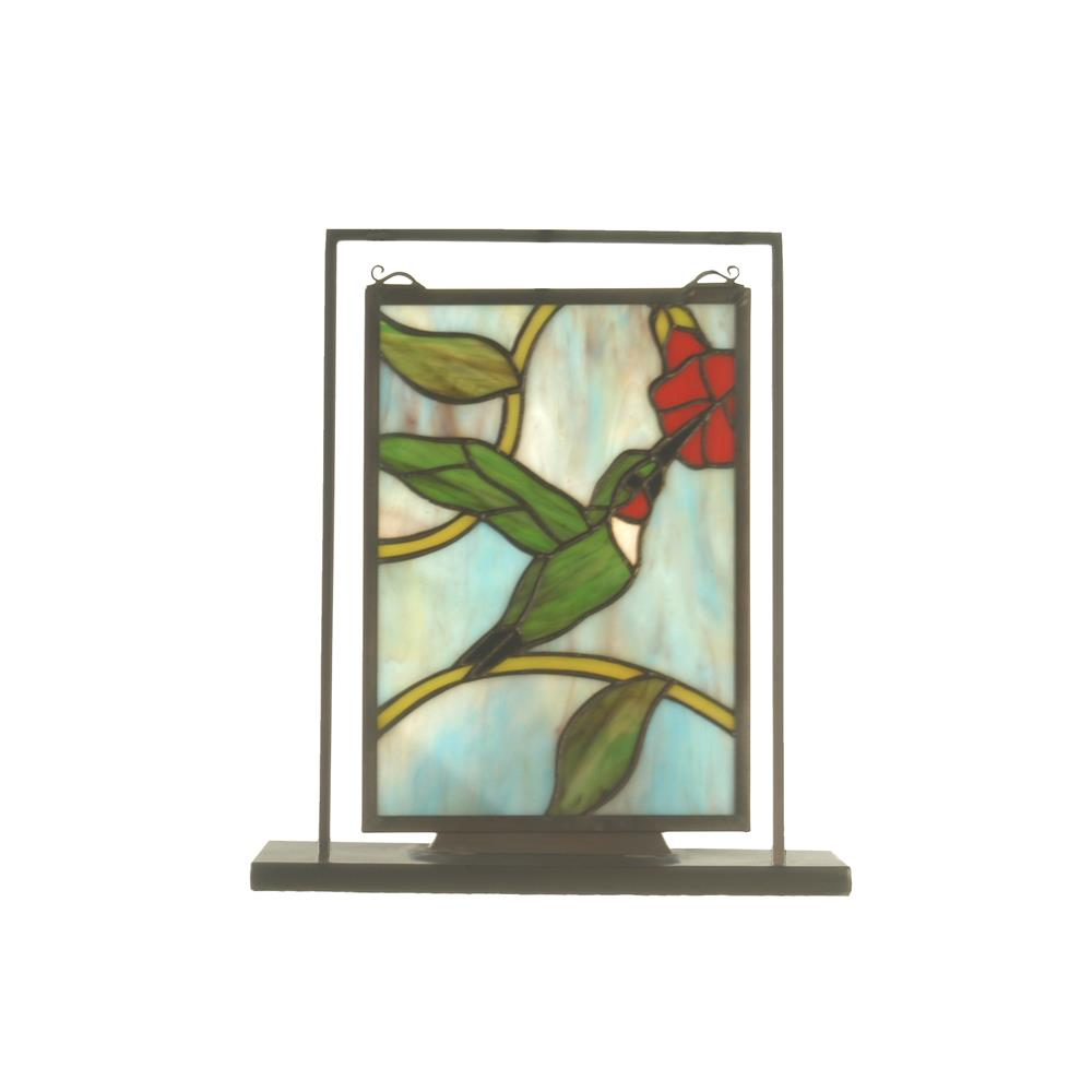 "Meyda Tiffany Lighting 52312 9.5""W X 10.5""H Hummingbird Lighted Mini Tabletop Window"