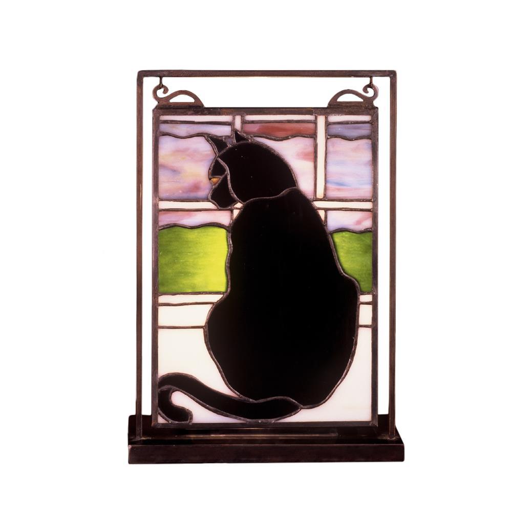 "Meyda Tiffany Lighting 56834 9.5""W X 10.5""H Cat In Window Lighted Mini Tabletop Window"