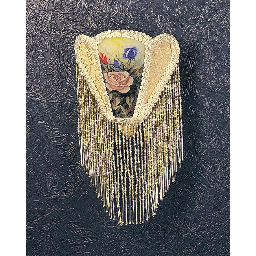 "Meyda Tiffany Lighting 68599 11""H Reverse Painted Roses Fabric With Fringe Night Light"