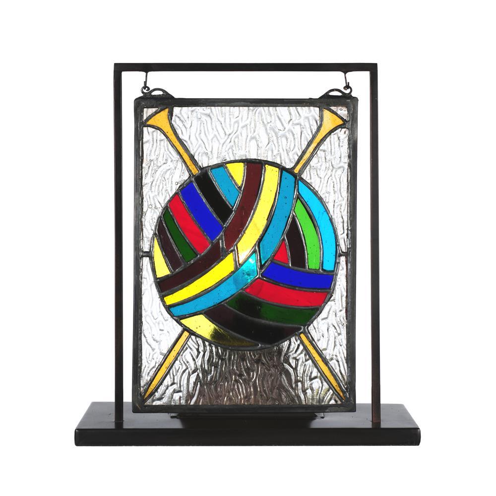 "Meyda Tiffany Lighting 68898 6""W X 9""H Ball Of Yarn W/Needles Lighted Mini Tabletop Window"