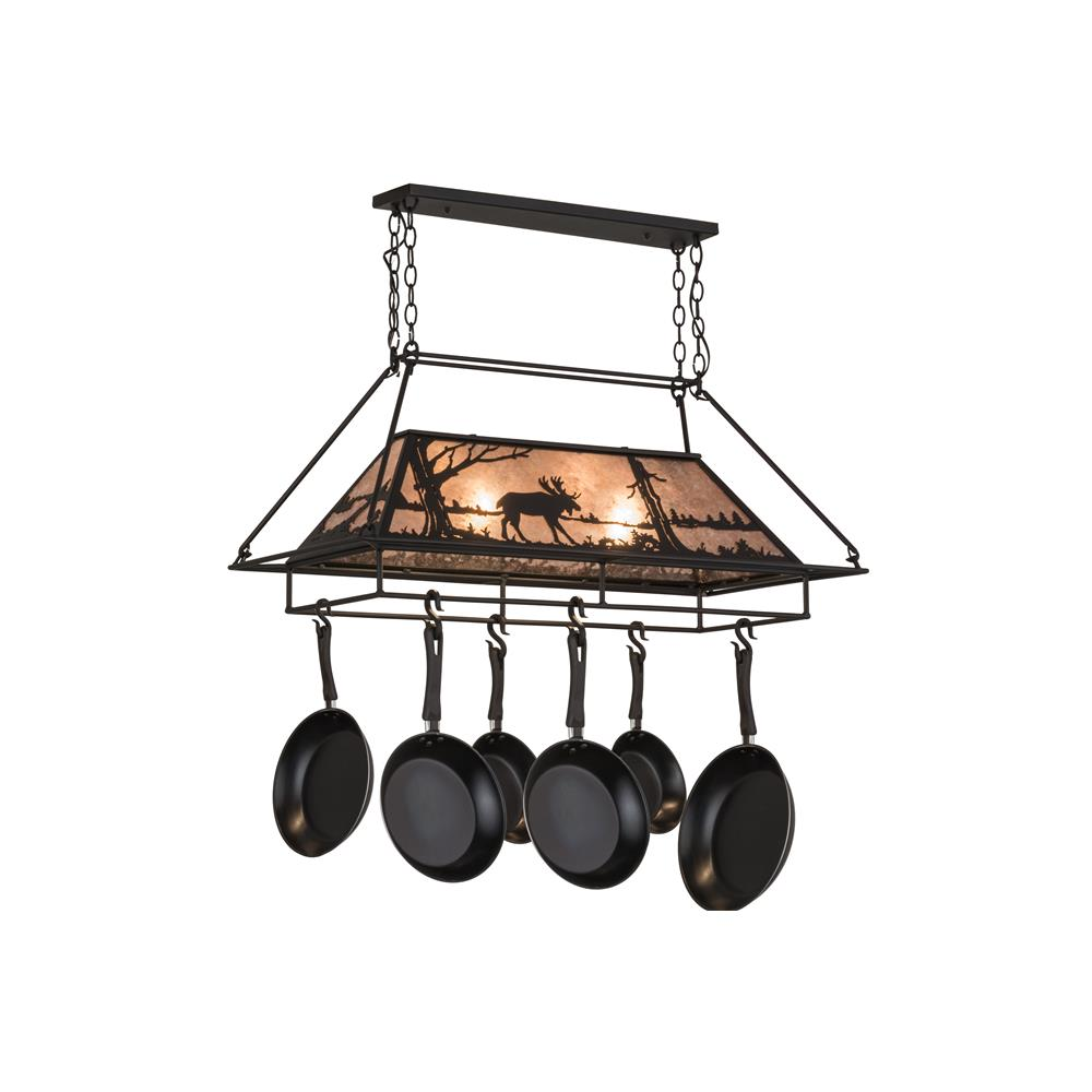 Meyda Tiffany Lighting 73371 2 Light Moose Pot Rack, Black