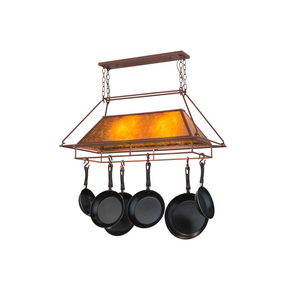 Meyda Tiffany Lighting 77830 2 Light Geometric Pot Rack, Rust