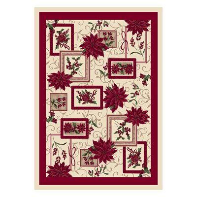 Milliken Holiday Winter Bouquet Rug in Poinsettia-2.8x3.10 Rectangle