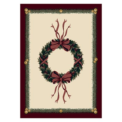 Milliken Holiday Holiday Wreath Rug in Sugarplum-2.8x3.10 Rectangle