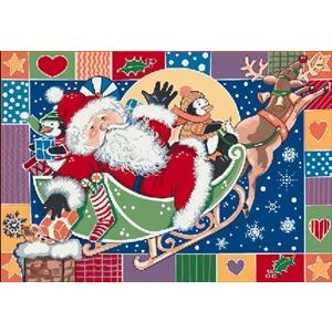 Milliken Holiday Patchwork Santa Rug in Atlantic-2.8x3.10 Rectangle