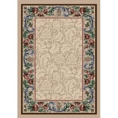 Milliken Innovations Rose Damask Rug in Pearl Mist-2.8x3.10 Rectangle