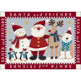 Milliken Holiday Santa & Friends Rug in Indian Red-2.8x3.10 Rectangle