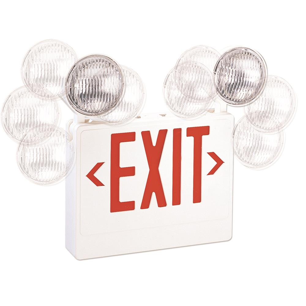 Nora Lighting NEX-708-LED/R LED Exit with Adjustable Emergency Heads Battery Backup Red