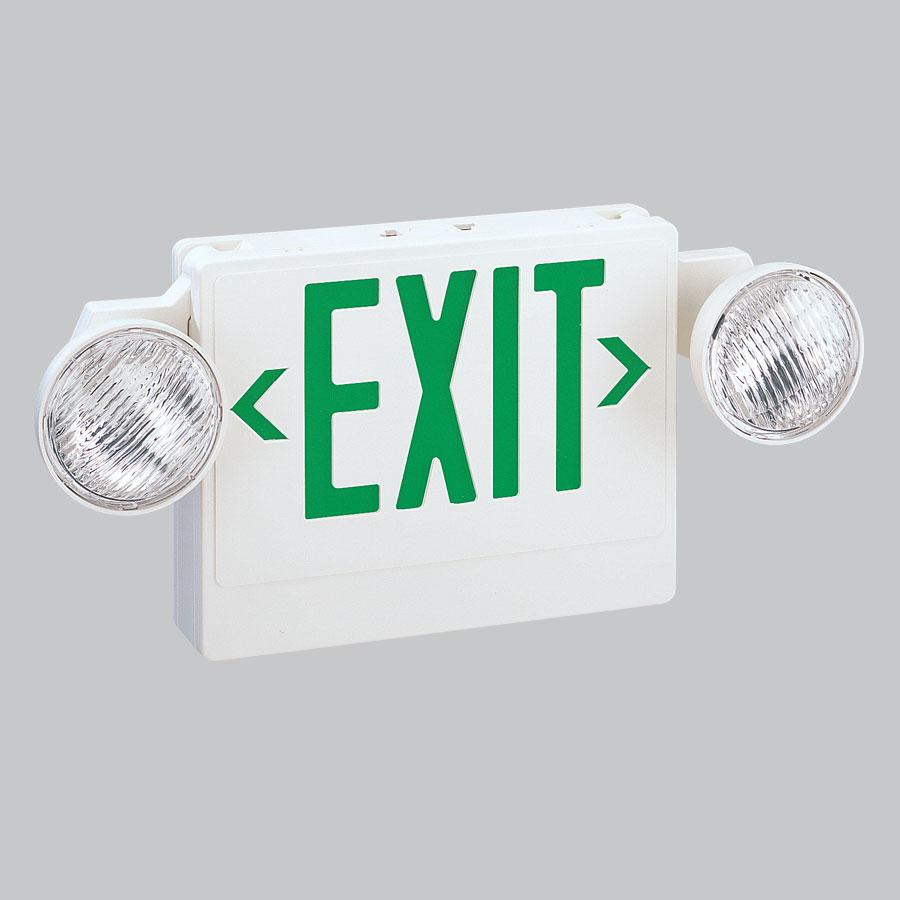 Nora Lighting NEX-708-LED/G LED Exit with Adjustable Emergency Heads Battery Backup Green