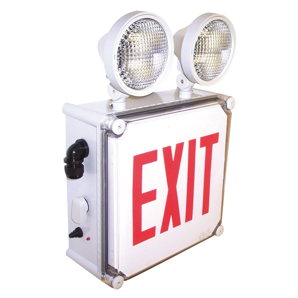 Nora Lighting NEX-710-LED/G Wet Location LED Exit Sign with Adjustable Heads Battery Backup Green
