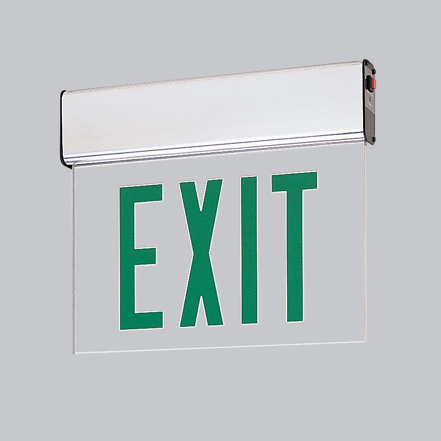 Nora Lighting NX-508-LEDG1CA Green LED Single Face Edge-Lit Exit 2-Circuit Clear Aluminum