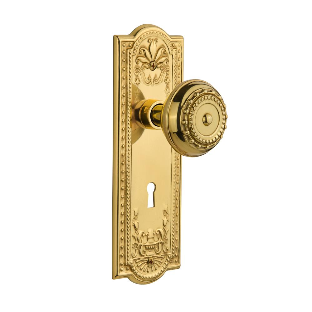Nostalgic Warehouse MEAMEA Single Dummy Meadows Plate with Meadows Knob and Keyhole in Polished Brass